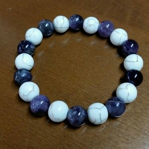 Jewelry - Natural Amethyst & White Howlite Healing Bracelet